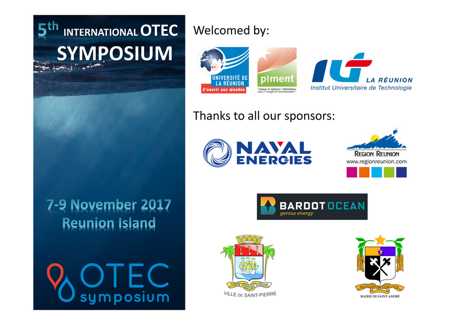 5th International OTEC SYMPOSIUM 7-9 November 2017 Reunion Island